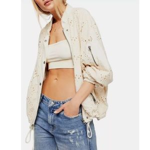 Free People Embroidered Bomber Jacket Ivory M